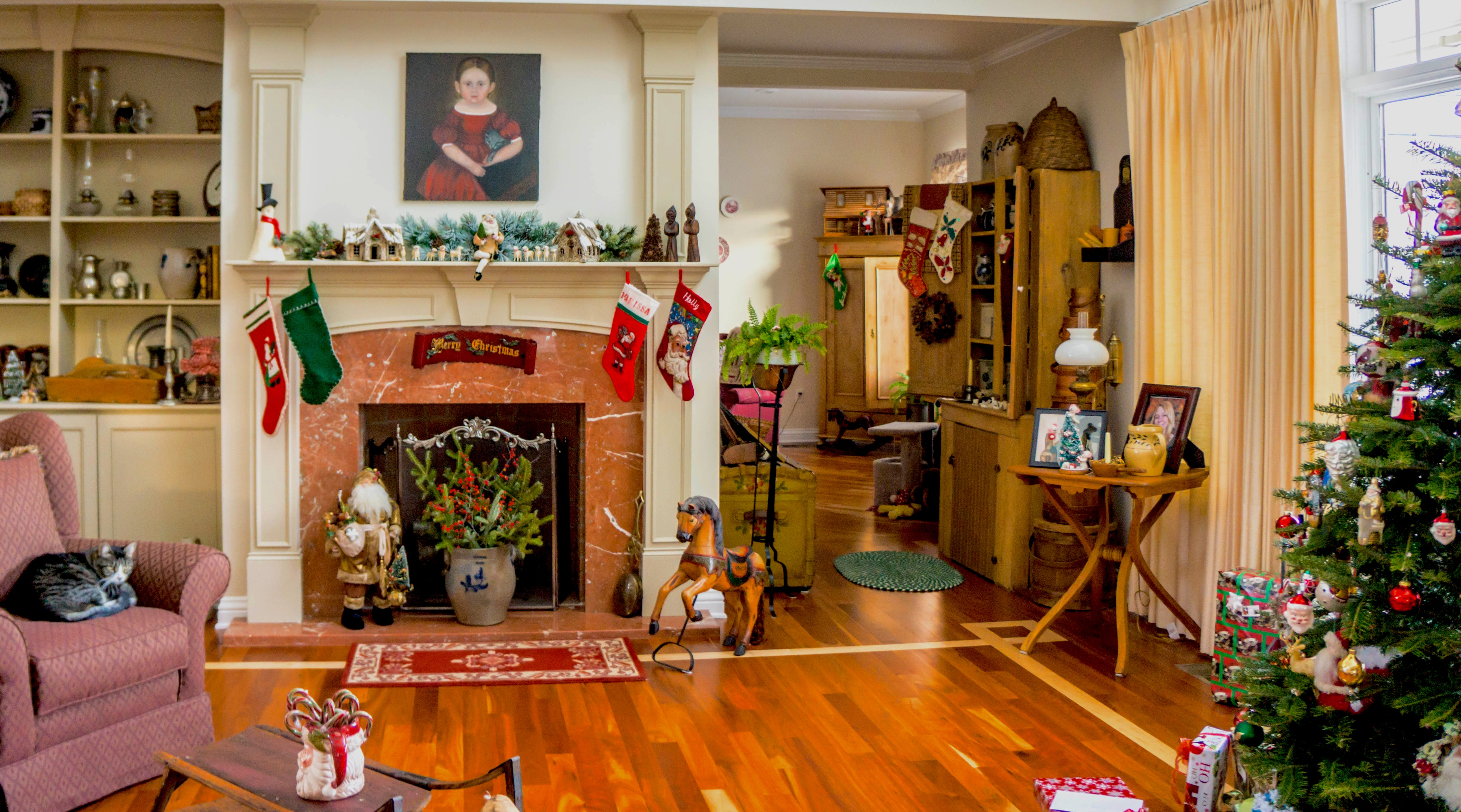living area decorated with many holiday decorations