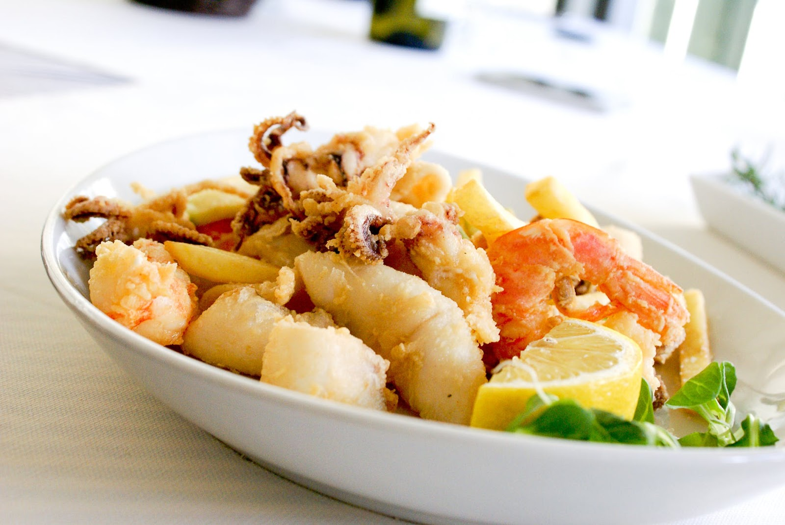 seafood dish with calamari and shrimp from Captain's Point
