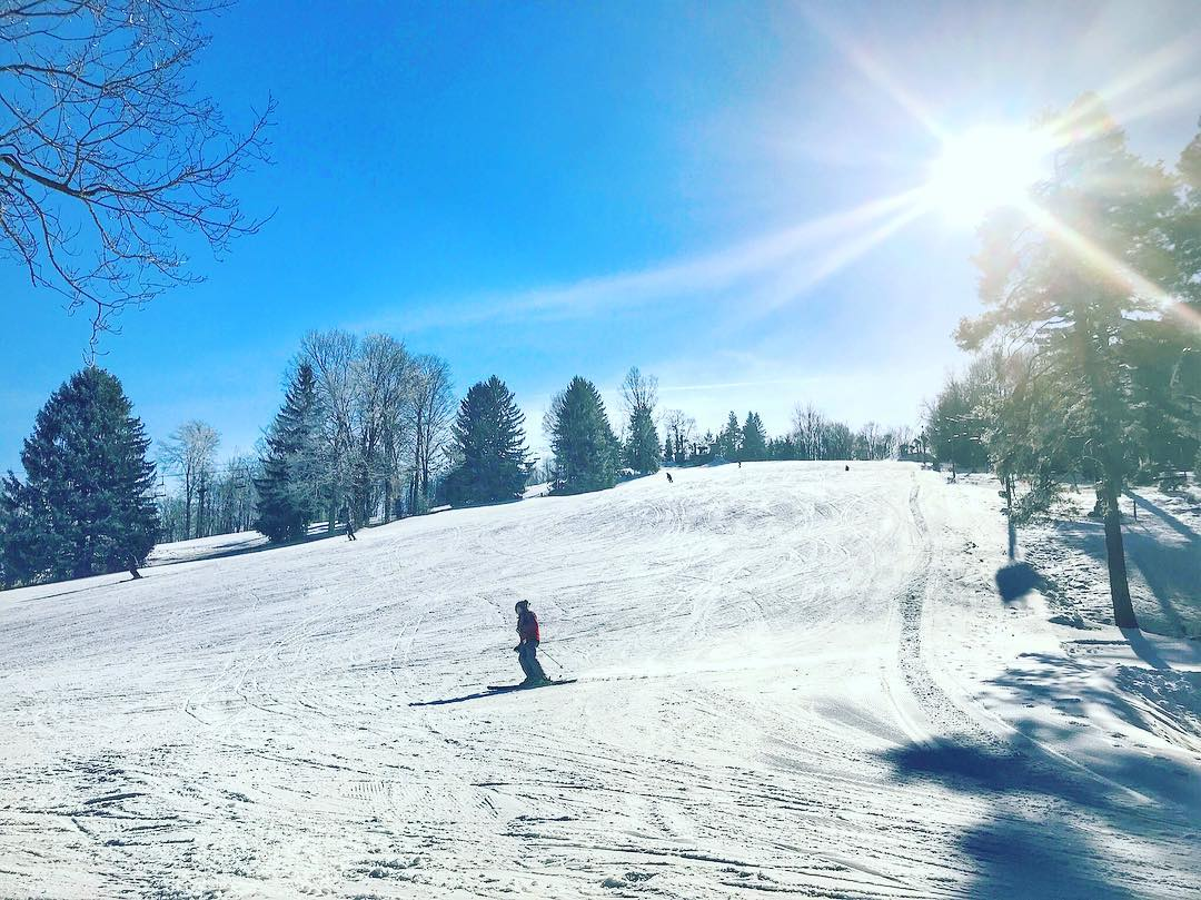person skiing on hill at Snow Trails Ohio