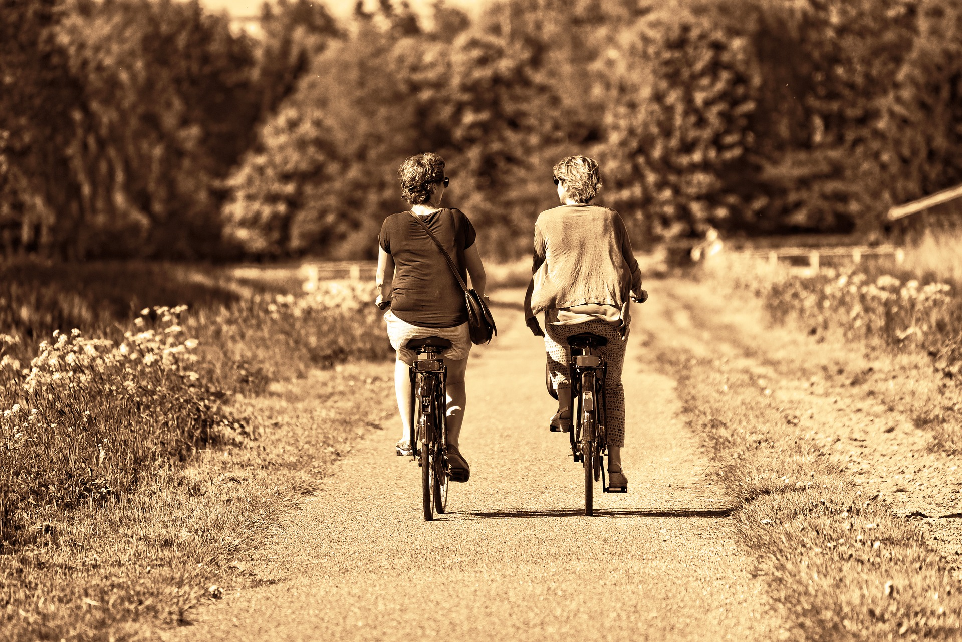 two women on bicycles