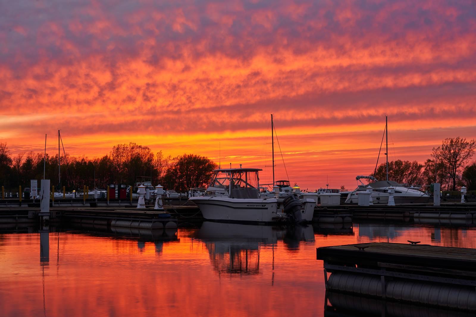 beautiful sunset on dock of Geneva on the Lake