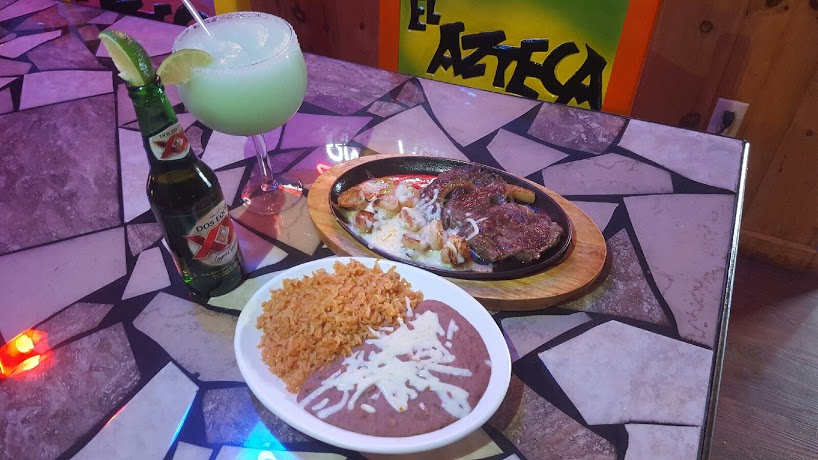 Mexican food & margarita on table in El Azteca in Ohio