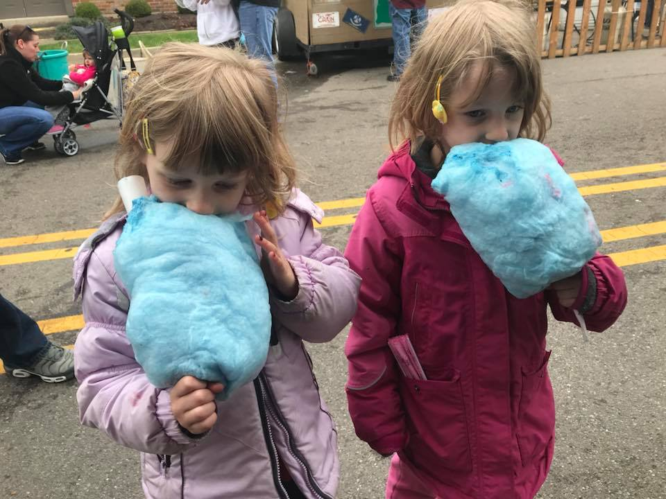 Children eating cotton candy