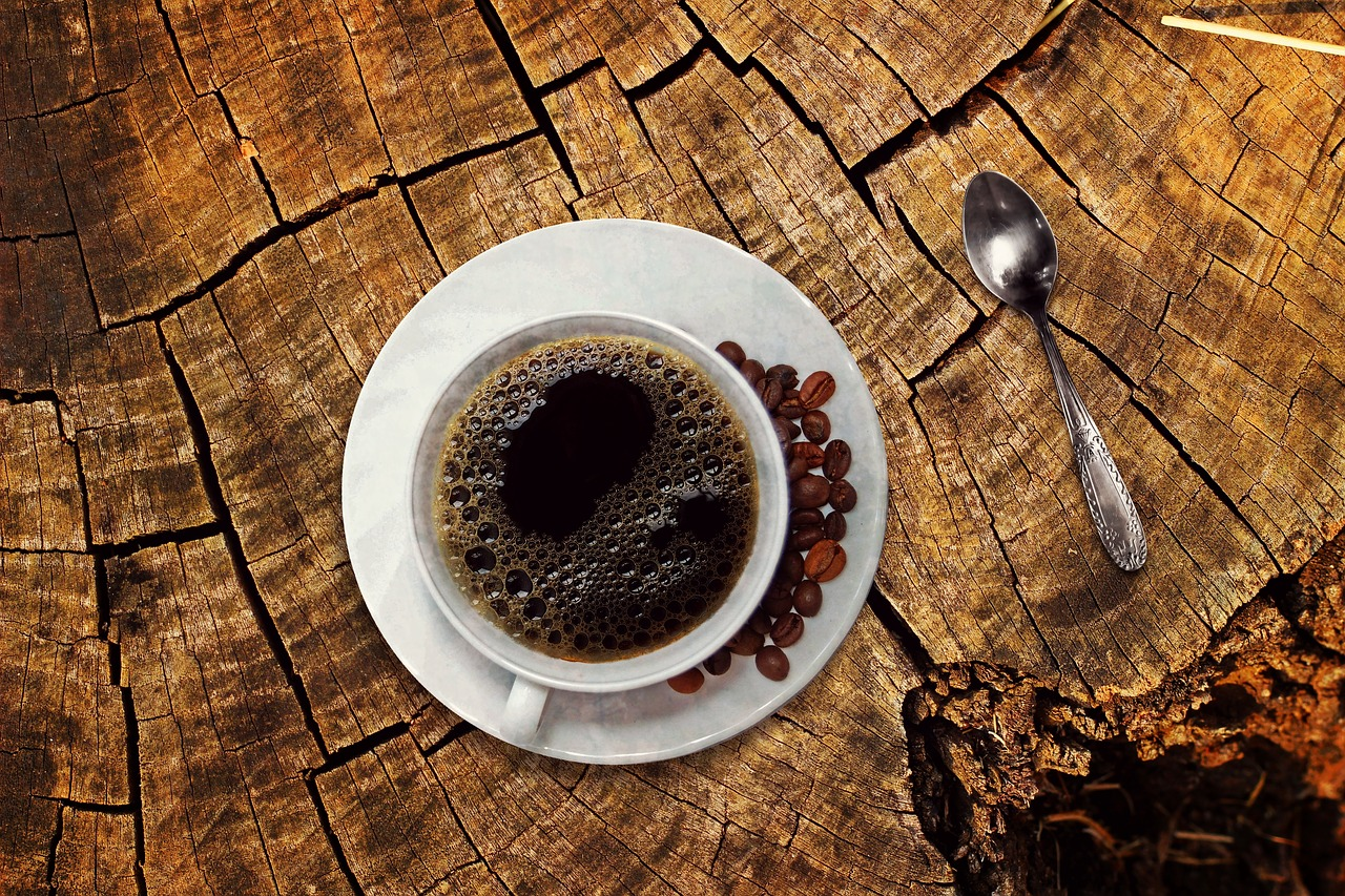 cup of coffee on a rustic table