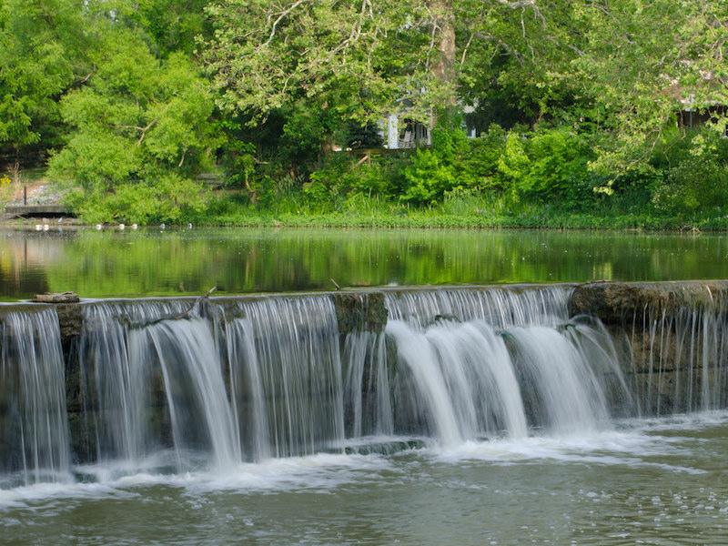 river waterfall at Riverside Park