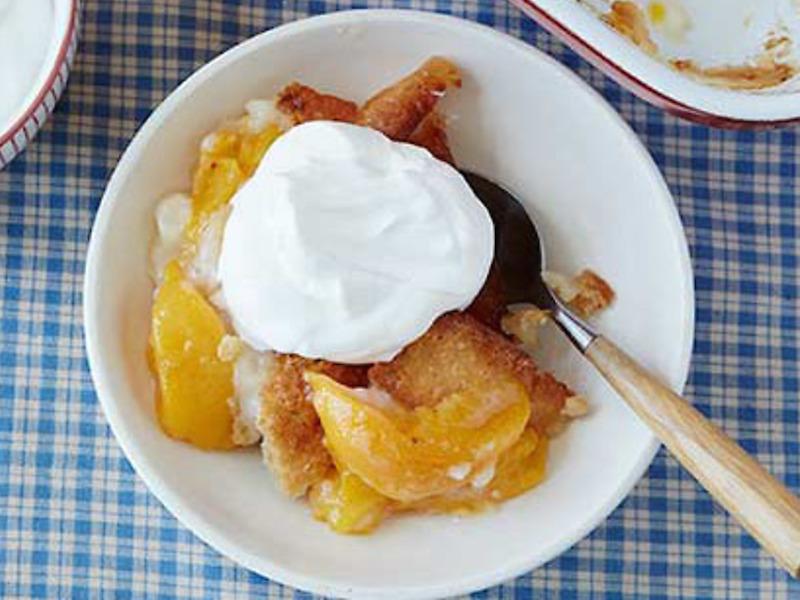 Easy Peach Cobbler in a bowl