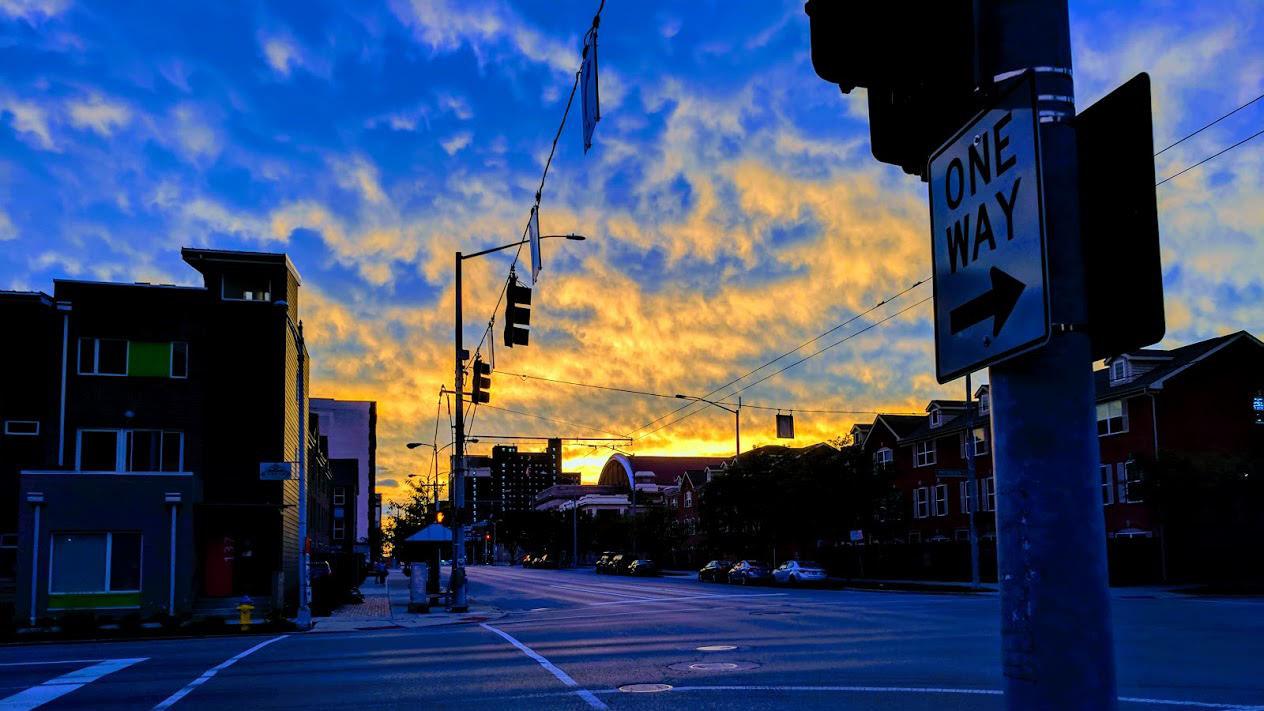 a street in dayton at sunrise