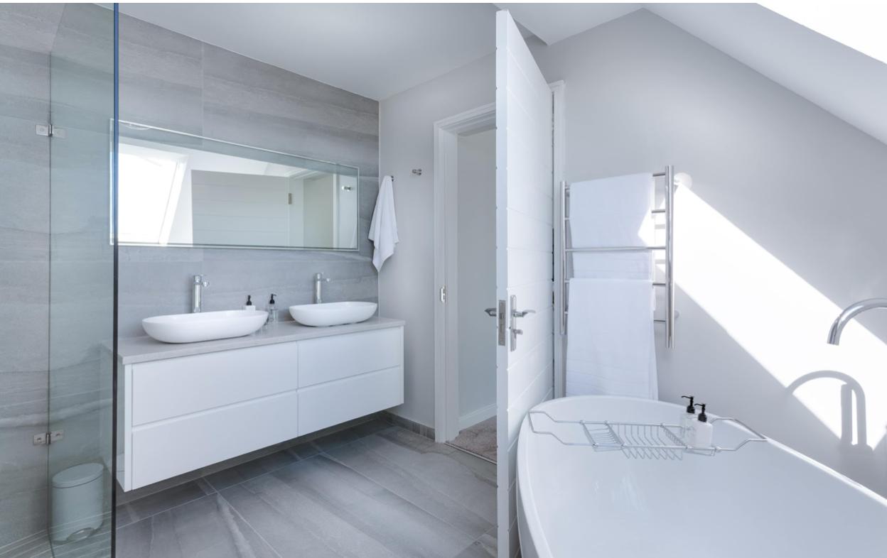 a crisp white bathroom