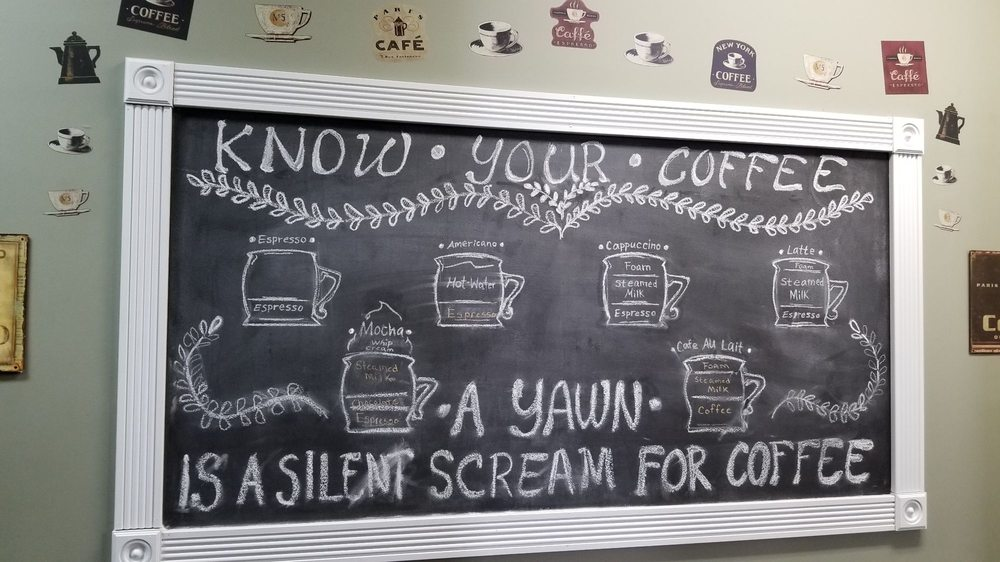 The blackboard at Scioto Valley Coffee, decorated with different types of coffee