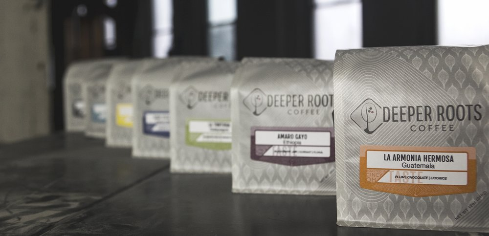Packaged coffee from Deeper Roots