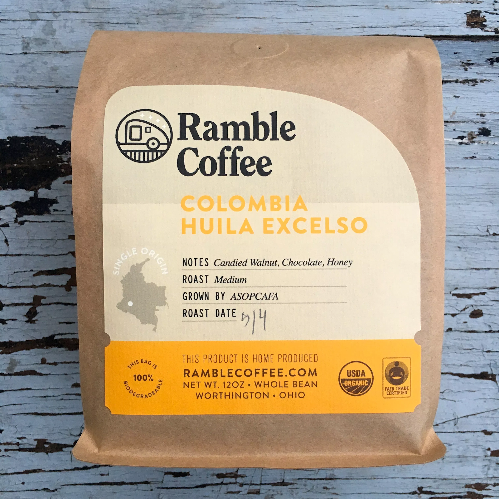 A package of Colombia Huila Excelso coffee from Ramble Coffee