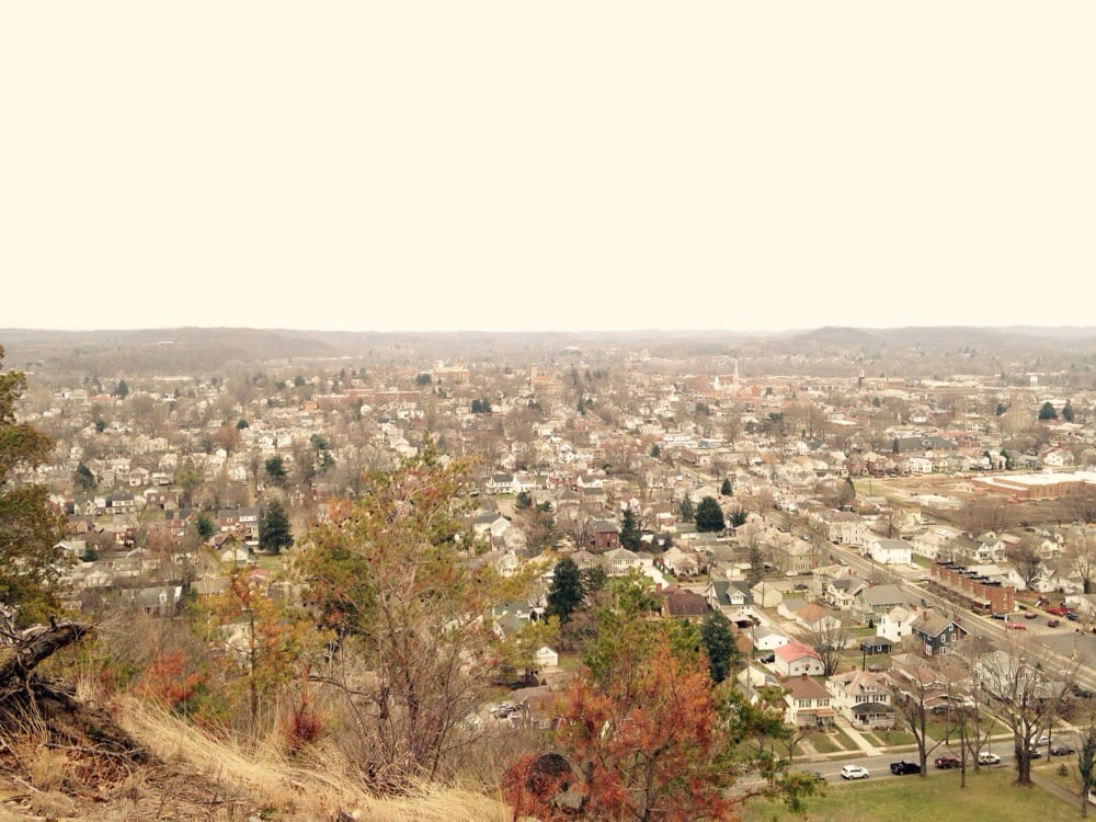 a panoramic view of lancaster, OH from Rising Park on a taken on a chilly late autumn hike