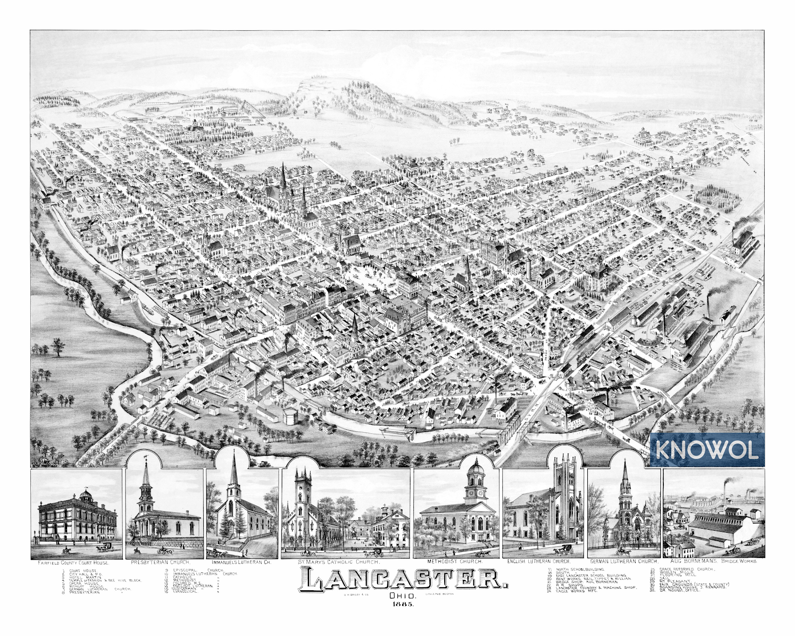 a black and white historic map of lancaster, OH