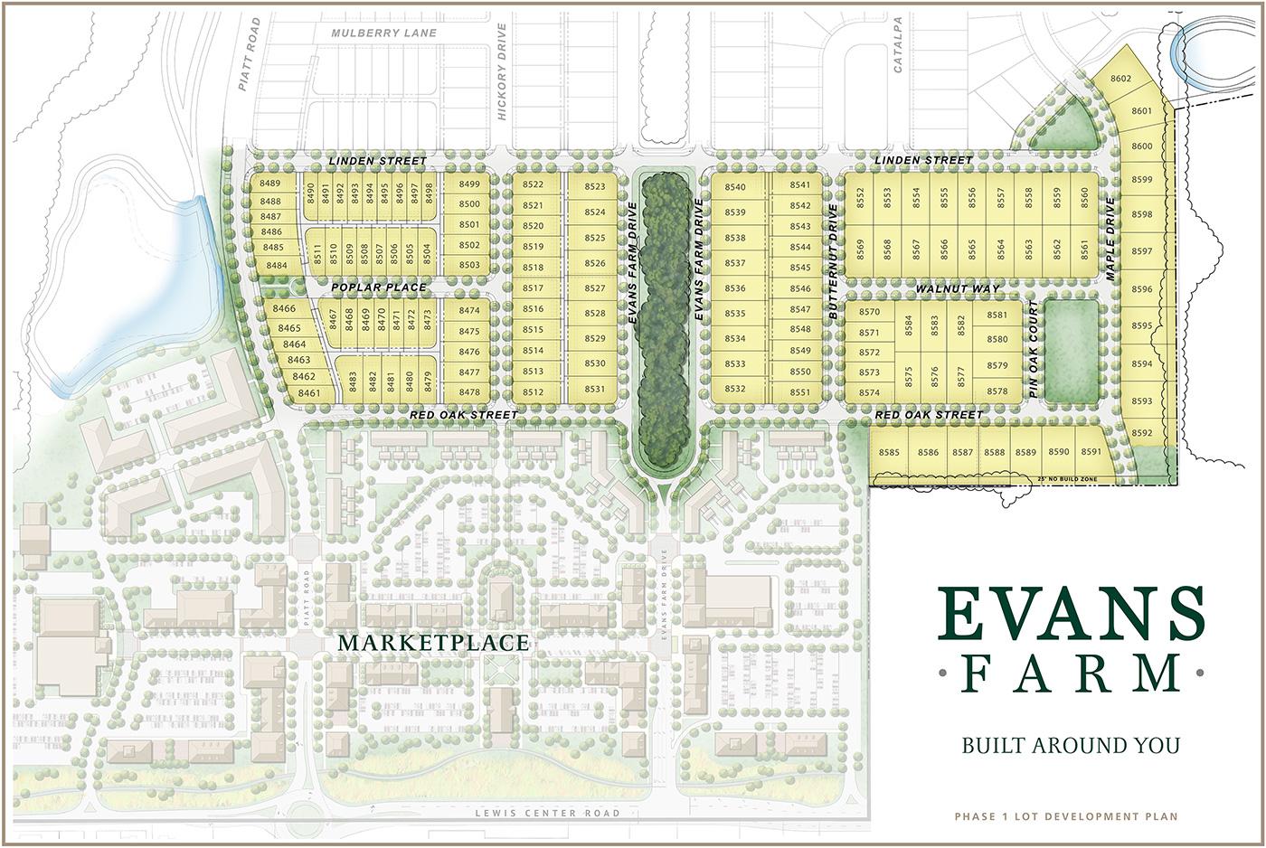 Diagram of Evans Farm Phase 1 Residential lots