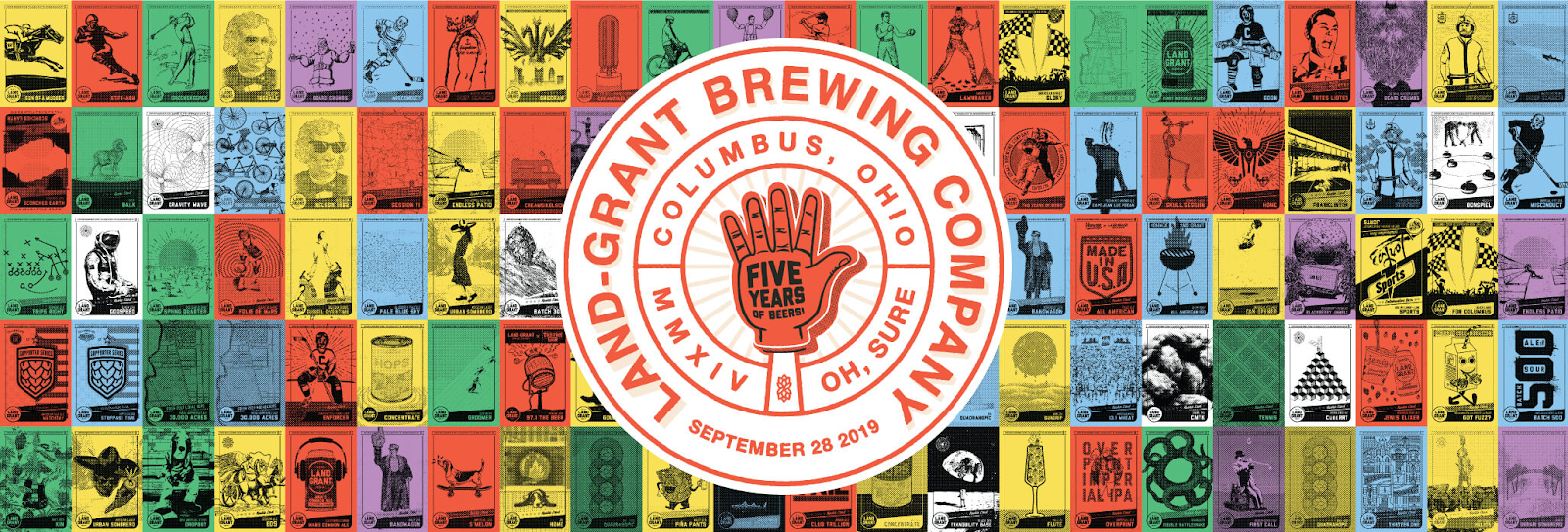 Land-Grant Brewing Company five-year anniversary logo