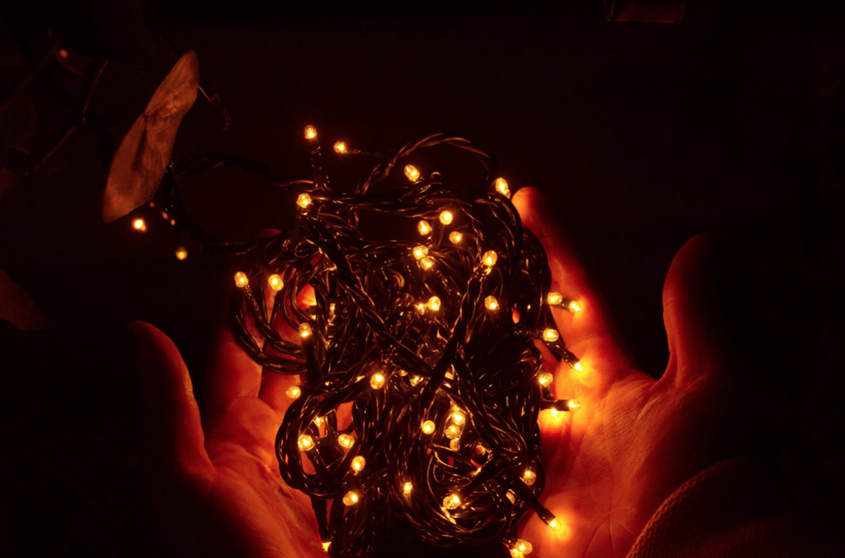 a person holding holiday twinkle lights