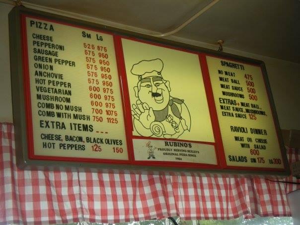 Rubino's Pizza menu sign