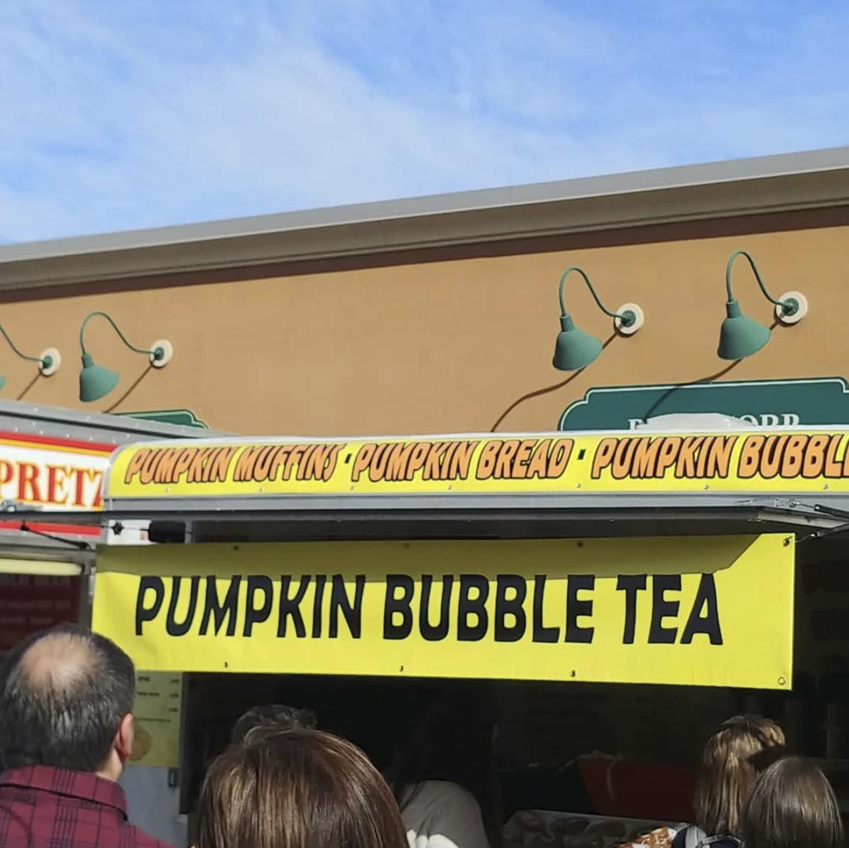 Sign for pumpkin bubble tea