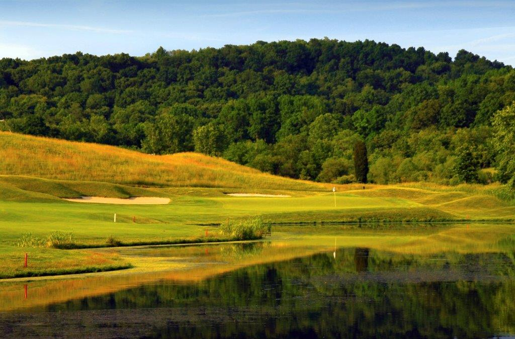 Beautiful golf course landscape at dusk