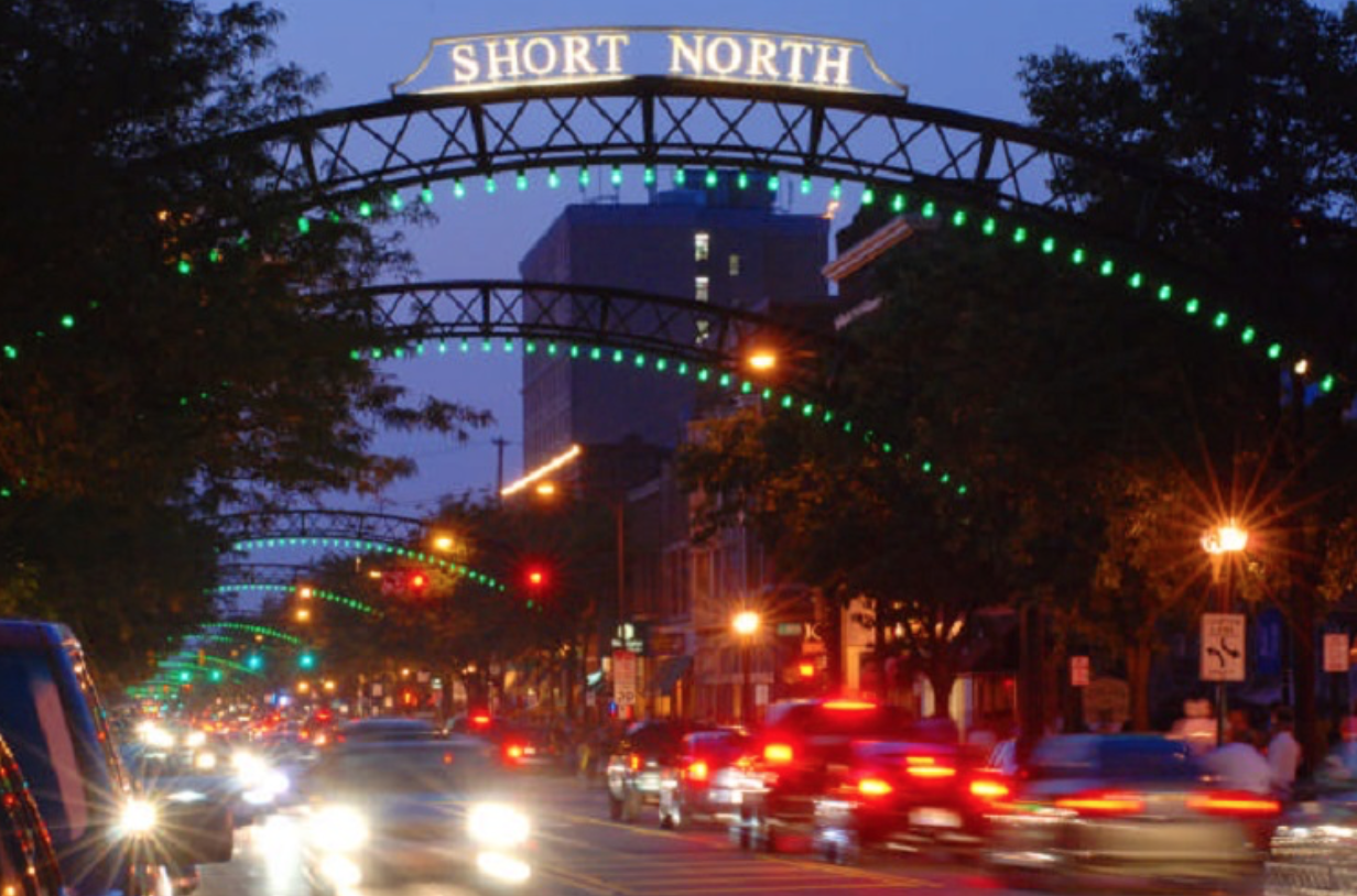 arches over a well trafficked street in short north ohio