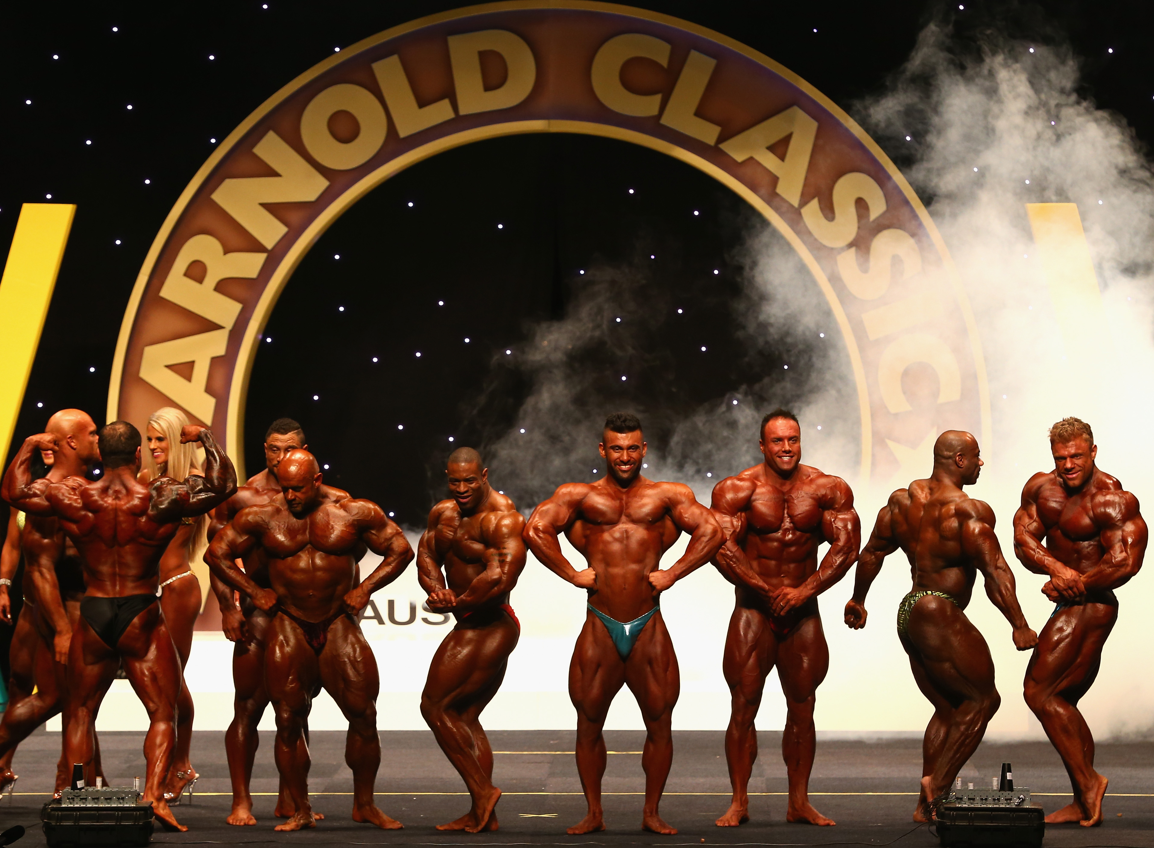 body builders line up for the arnold classic
