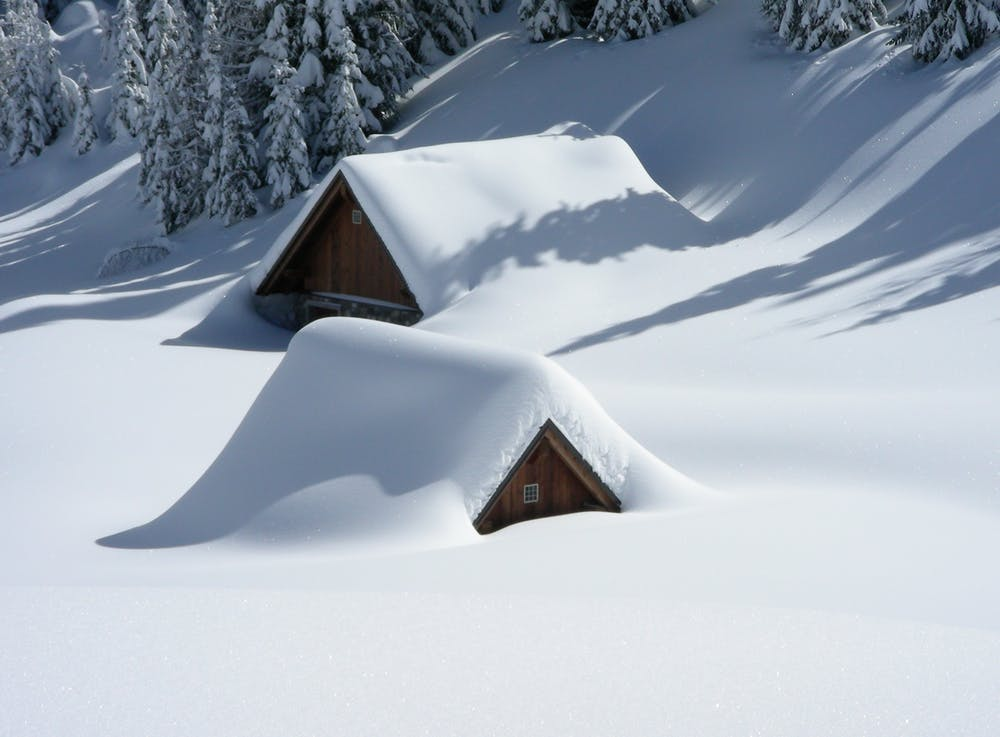 homes buried in the snow
