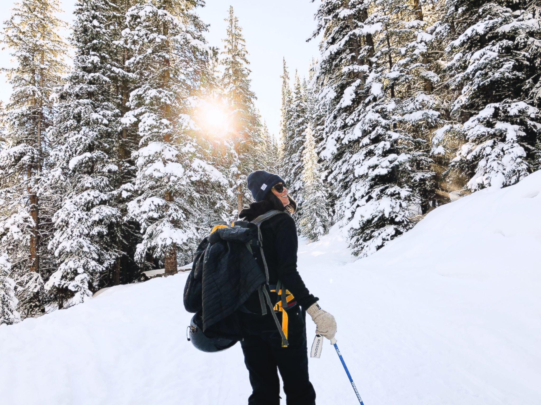 hiker on a snowy trail