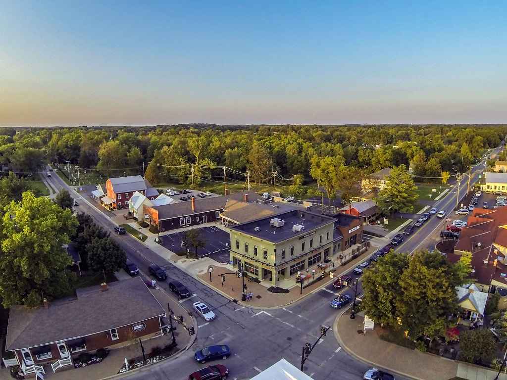 an aerial view of an intersection in powell, ohio