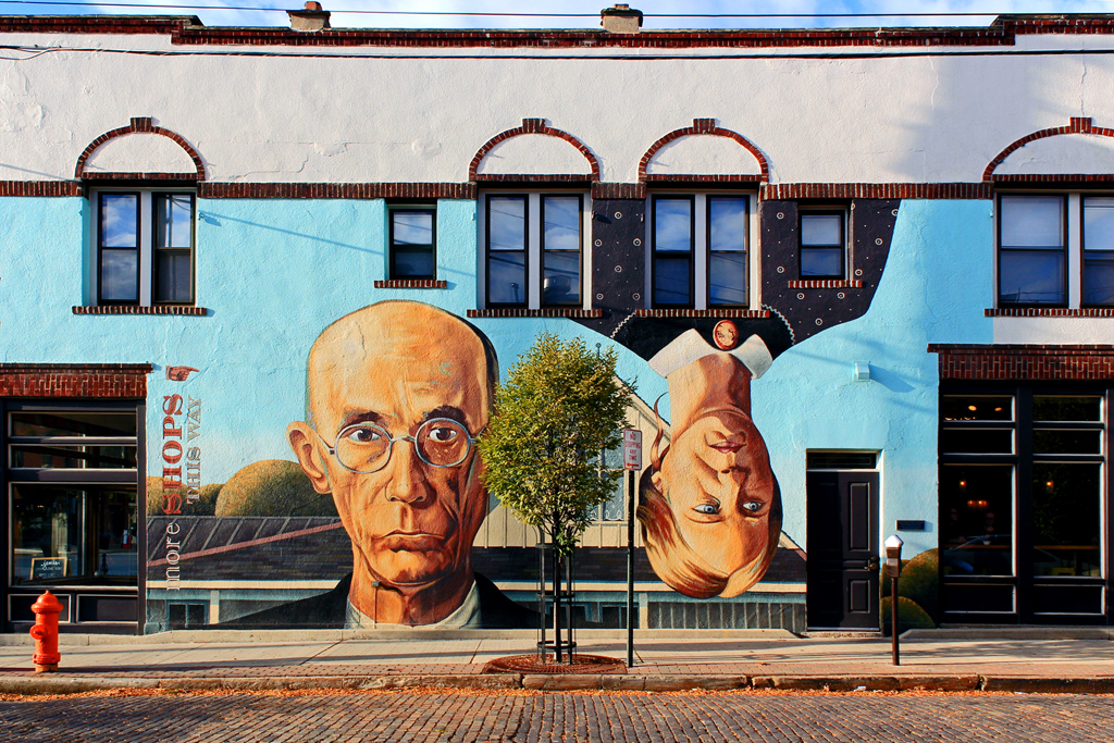 A mural inspired by the famous American Gothic painting