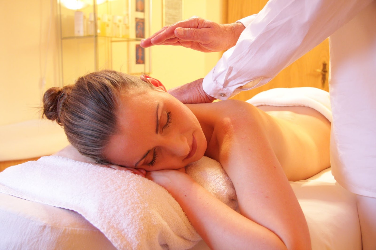 A woman gets a massage at one of a number of spas located in Grove City, Ohio.