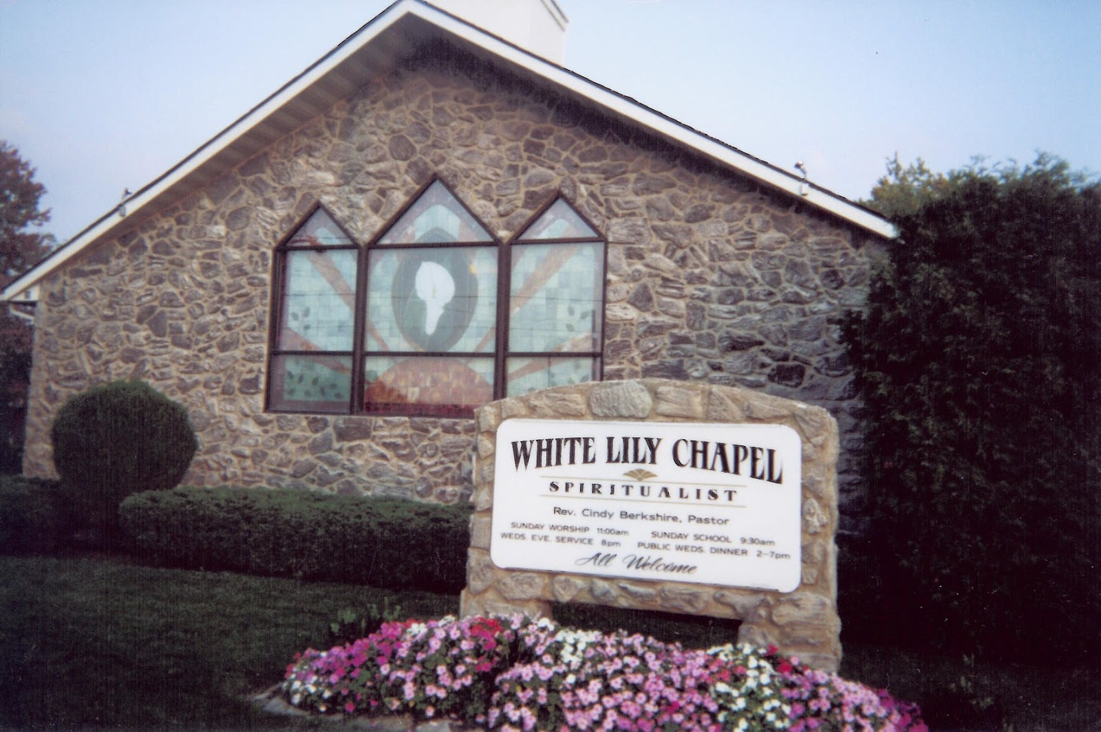 an image of the White Lily Chapel, located in Ashley, Ohio