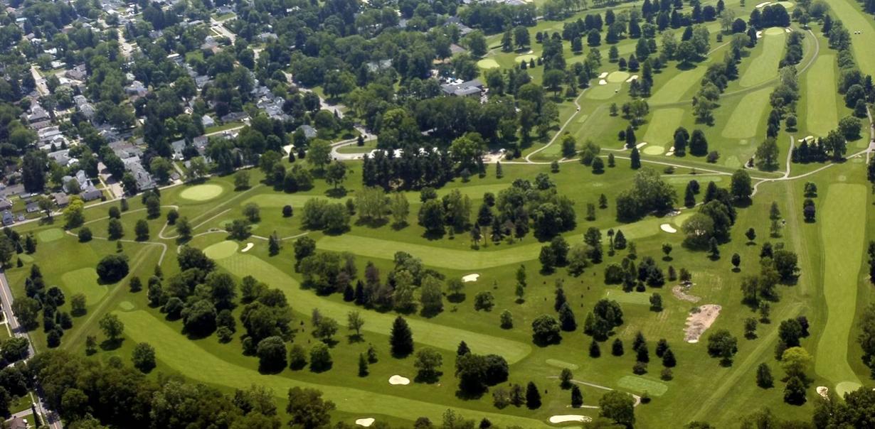 trees on a green hill overlooking heath ohio