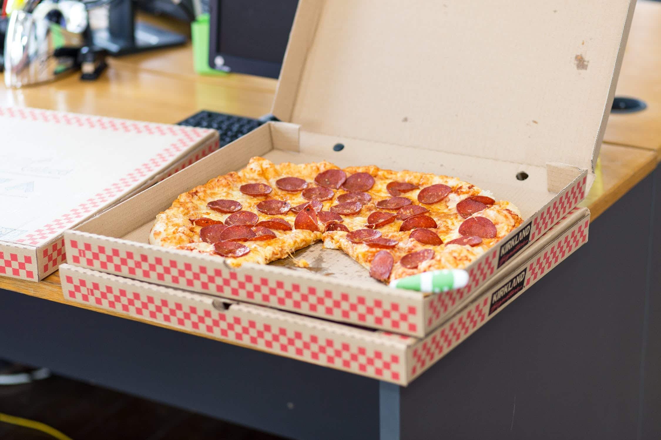 pepperoni pizza in a box