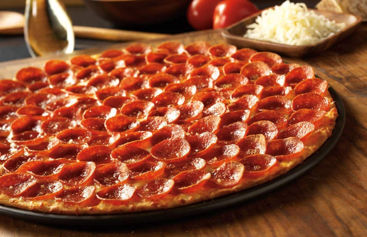 close up of a pepperoni pizza from Donato's