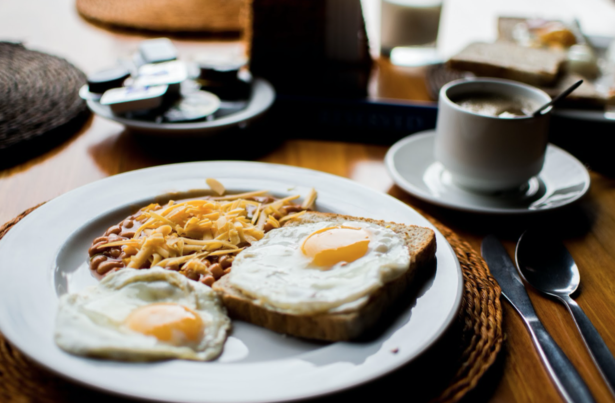 eggs, toast and coffee on a table