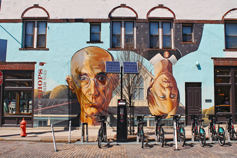 a mural on a building in short north