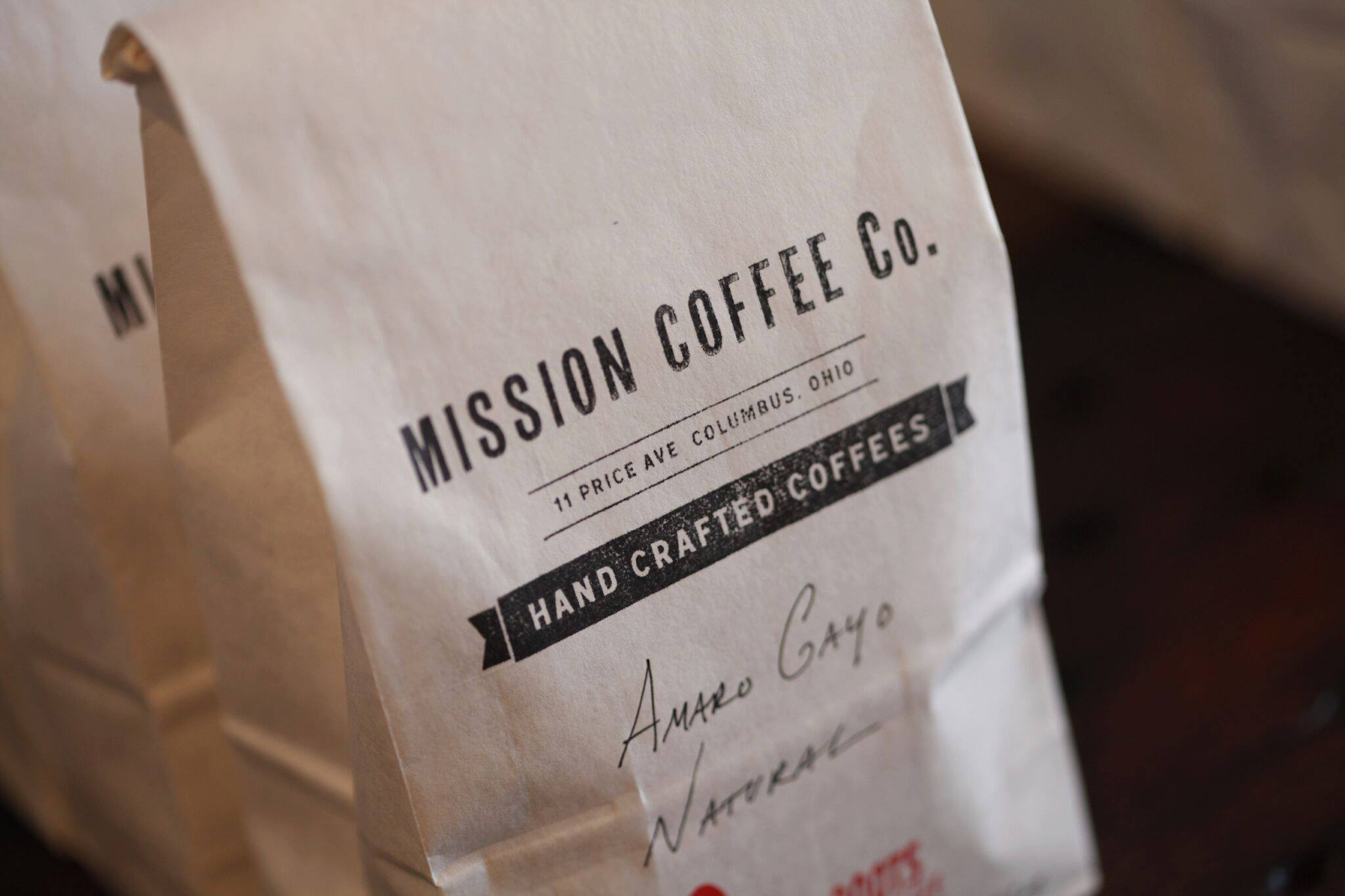 Close up of bag of Mission Coffee Co. coffee beans