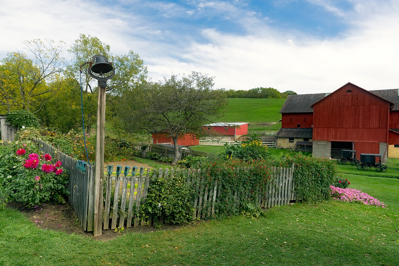 a garden with a red barn in the distance