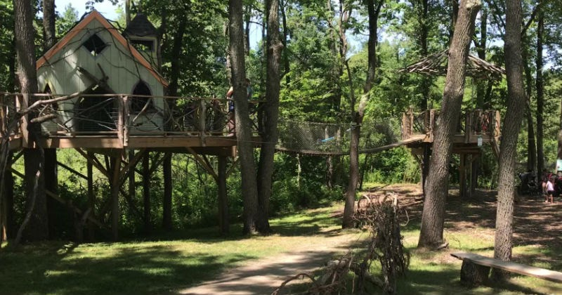 The treehouse component of Beech Creek Botanical Garden. This a fun edition to the gardens that kids will love to play on.