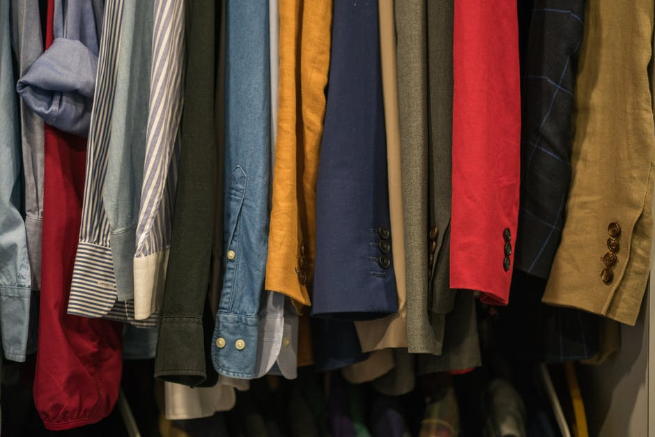 A row of colorful shirt hanging together