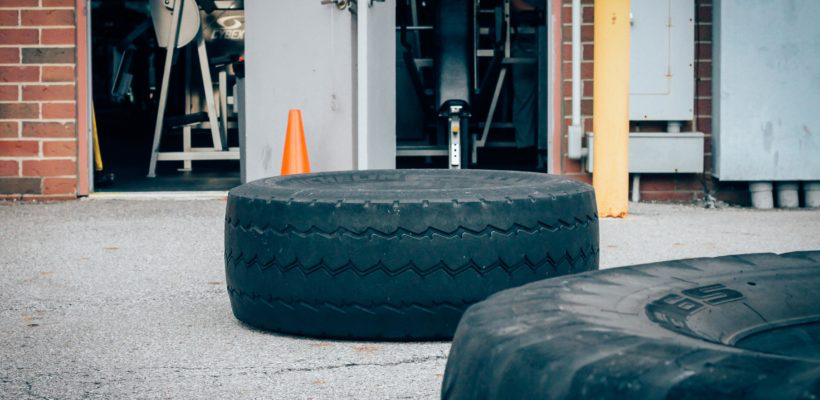 Outside training area for athletes. Large tires on ground used for flipping.