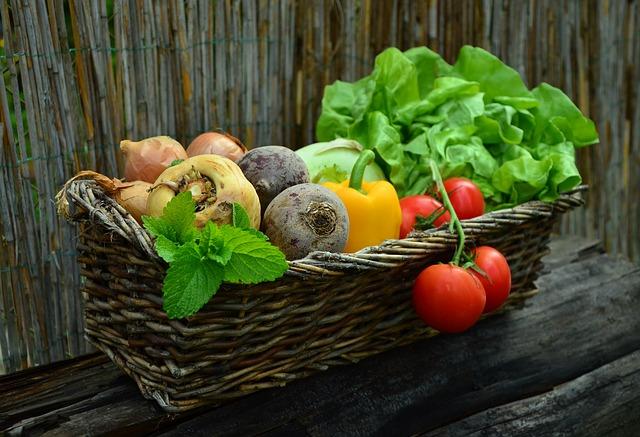 Vegetables in a brown basket