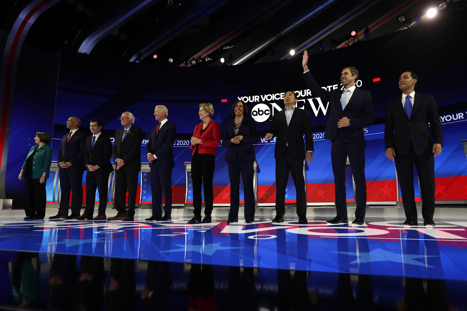 Photo of 12 Democratic candidates at the October 15 Democratic Presidential Debate in 2019