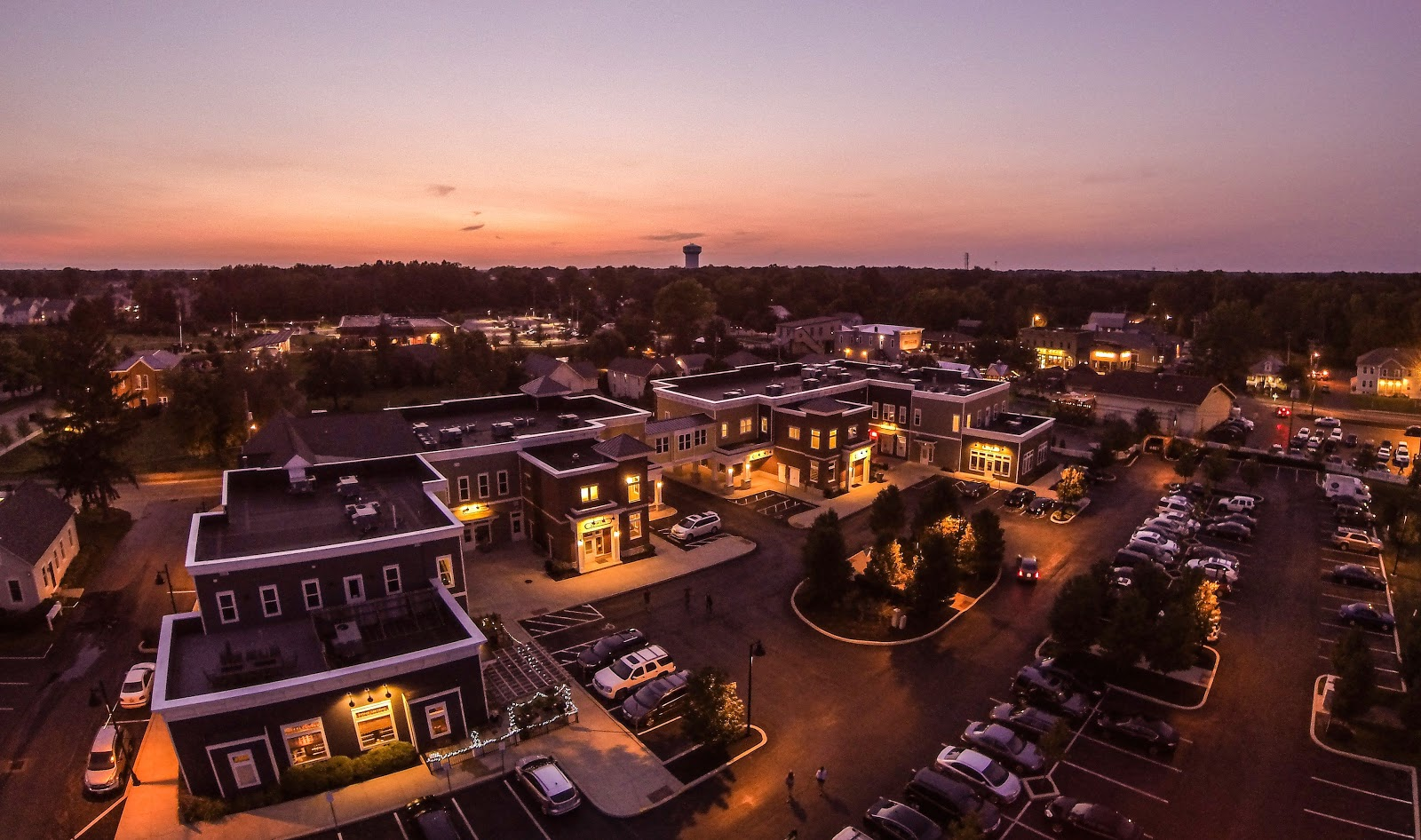 This is a sunset view of Powell Ohio. It is a great place to find a great cup of coffee.