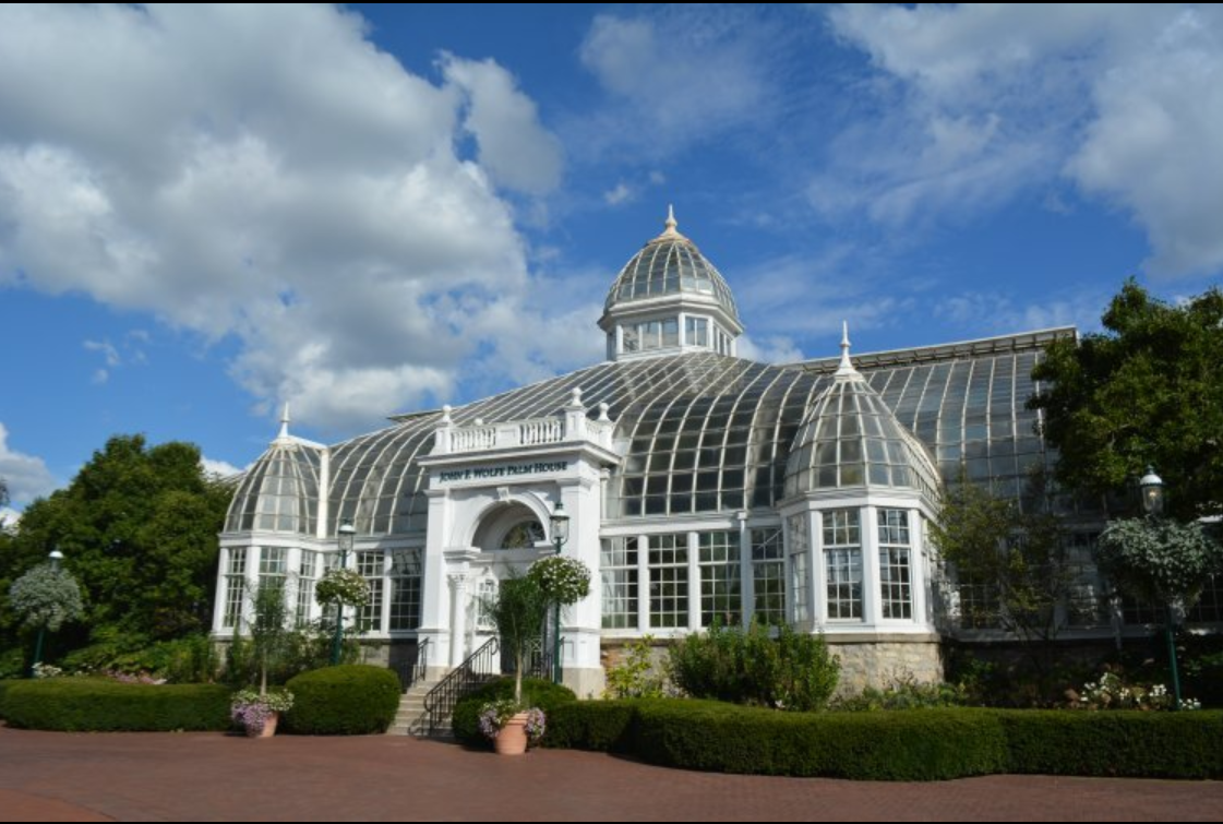 A glass greenhouse front
