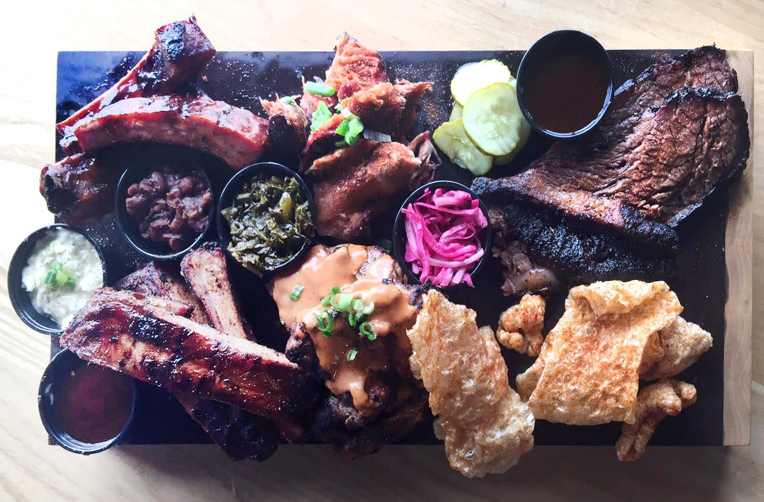 A spread of various barbecued meats