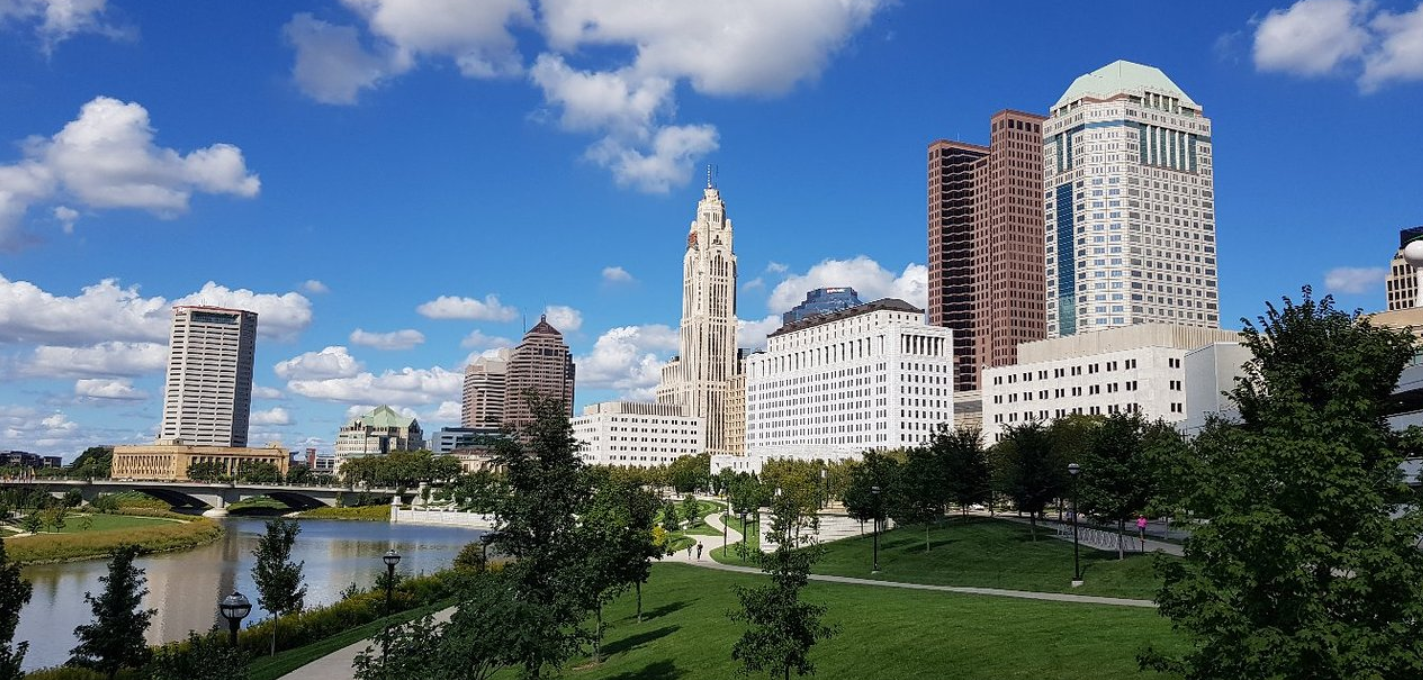 An Ohio park with a view of the city