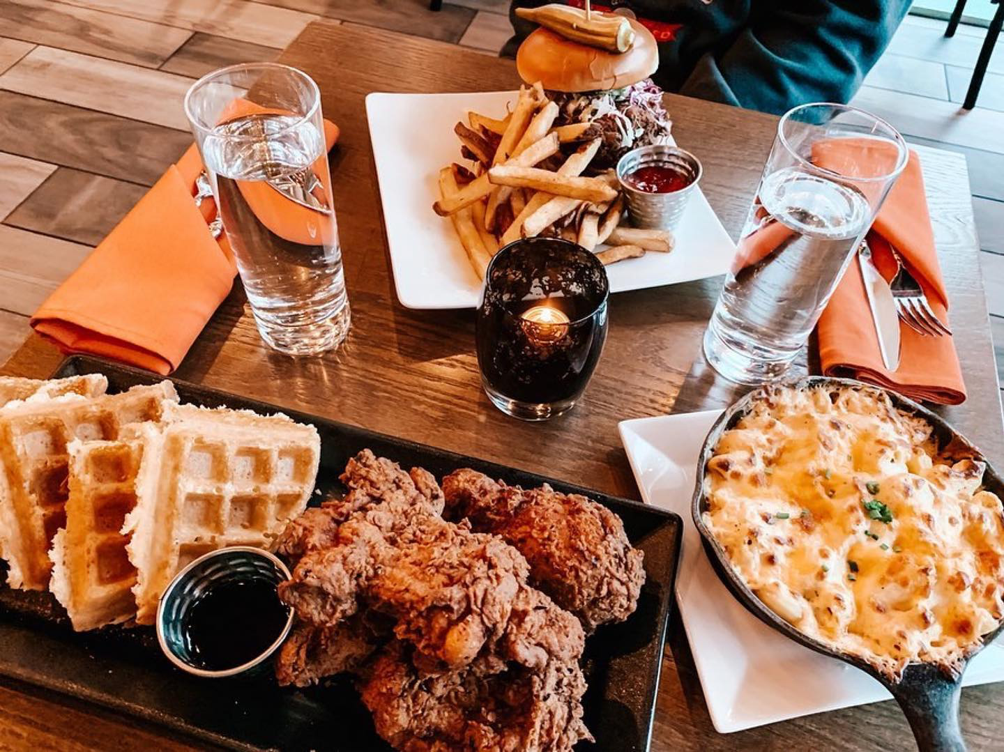 Photograph of Hen Quarter's chicken and waffles