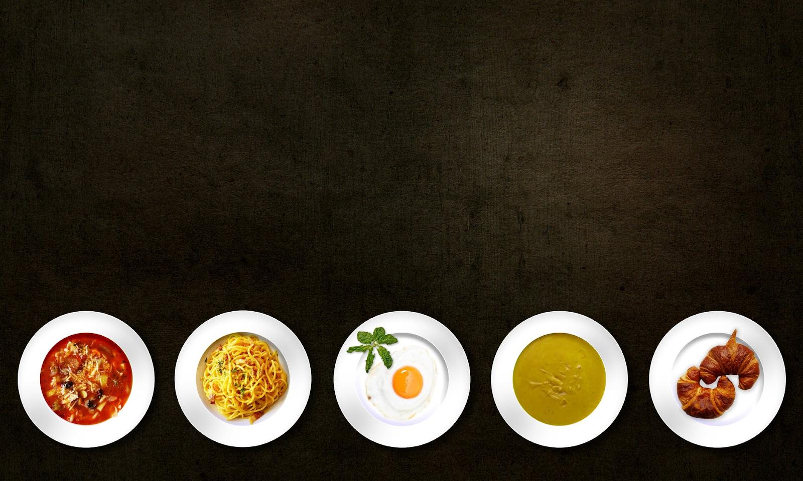 a row of dinner plates