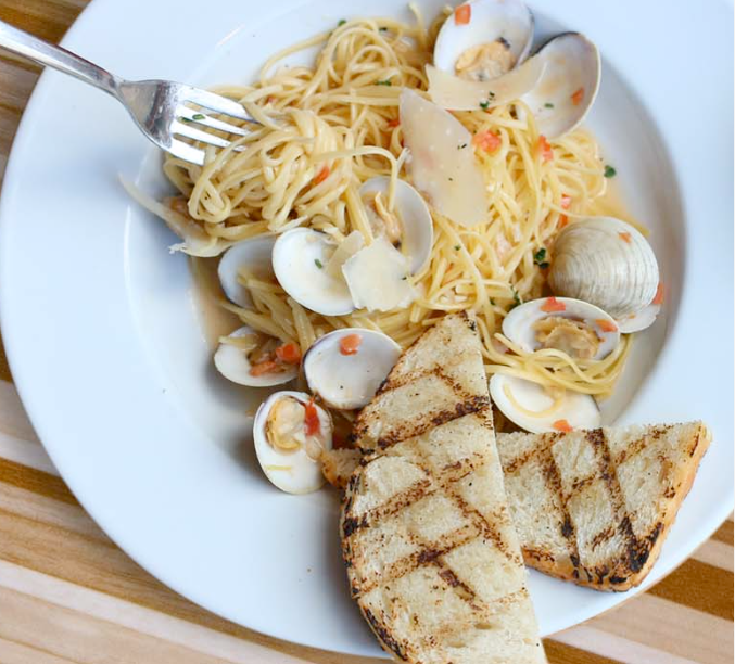 A spaghetti dish with mussels